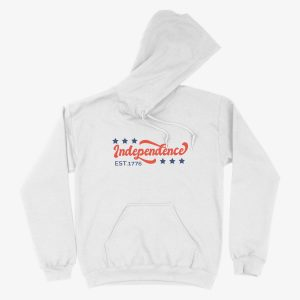 Independence USA Stars Fourth of July 1776 Unisex Hoodie White