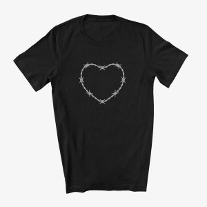 Barbed Wire Heart Unisex T-Shirt Black